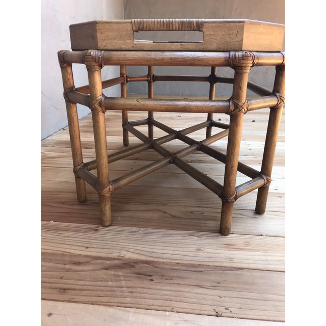 McGuire bamboo and fruitwood cocktail table with leather binding. Perfect for coastal living.