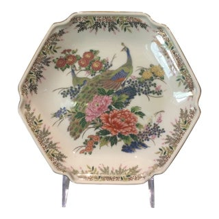 Vintage Japanese Peacock Trinket Candy Dish For Sale