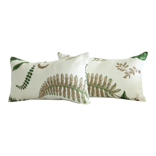 Stensöta (Fern) Textile Lumbar Pillows - a Pair 10 X 18 For Sale