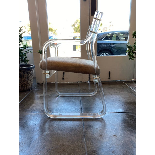Mid-Century Modern Mid-Century Lucite and Hide Chair For Sale - Image 3 of 8