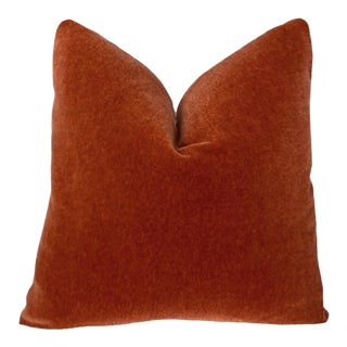 "20"" Burnt Red Mohair Pillow For Sale"