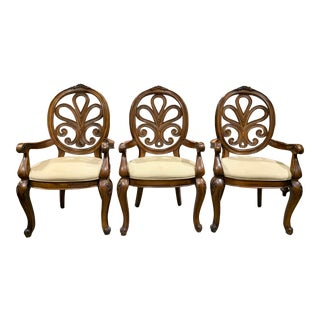 Henredon Gold Chenille Fabric Open Scrolled Wood Balloon Back Arm Chairs - Set of 3 For Sale