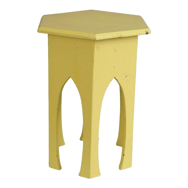 Antique Primitive Rustic Moorish Style Yellow Painted Accent Side Table Arched - Image 1 of 11
