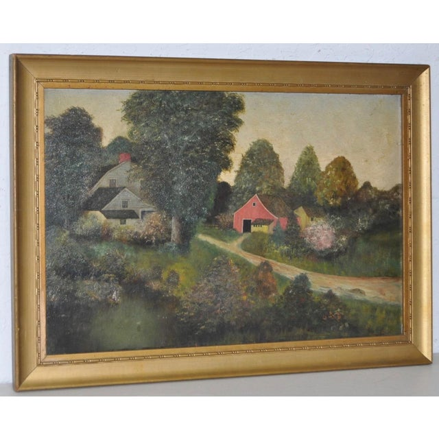 """Charming oil painting on panel of a farm in the country. Dimensions 18 3/4"""" x 12 3/8"""". The gold frame measures 21"""" x 15""""...."""