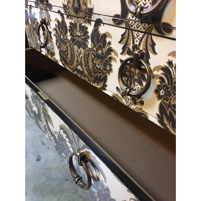 Metal Wallpapered Antique Chest For Sale - Image 7 of 9