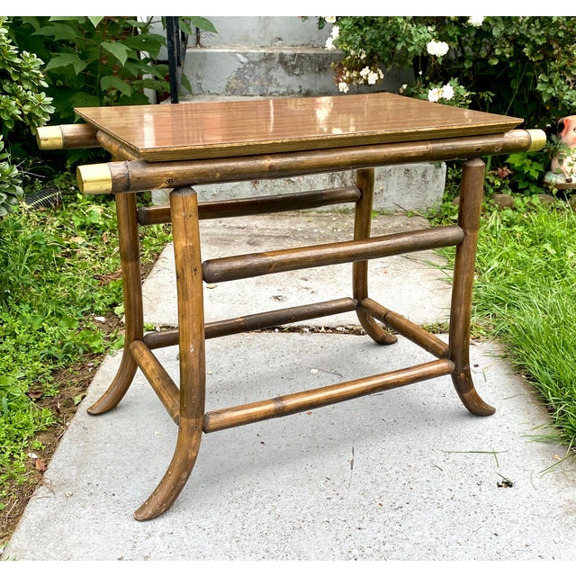 Coffee J.B.Van Sciver Dark Wood Rattan and Brass End Table For Sale - Image 8 of 8