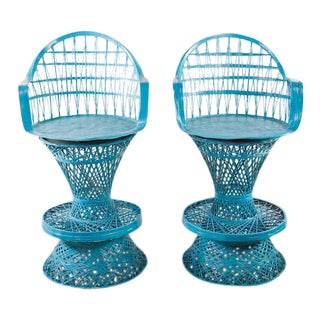 1960's Mid Century Modern Blue Faux Wicker High Top Chairs - A Pair For Sale