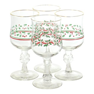 Holiday Glass Stemware Goblets - Set of 4 For Sale
