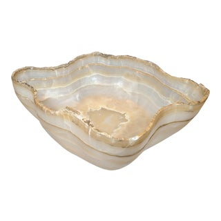 Large Organic Hand Carved Onyx Bowl For Sale