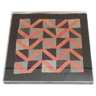 1930s Amish Wool Doll Quilt in Plexy Frame in a Zig Zag Pattern For Sale