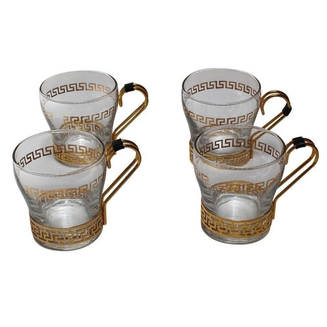 Greek Key Coffee Cups - Set of 4 For Sale