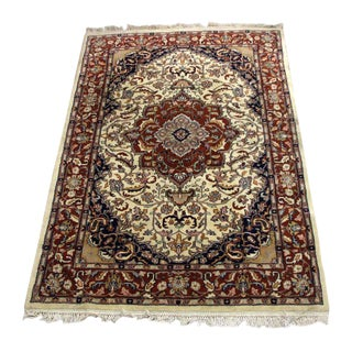 Traditional Multi-Colored Floral Oriental Rug - 4′2″ × 6′10″ For Sale