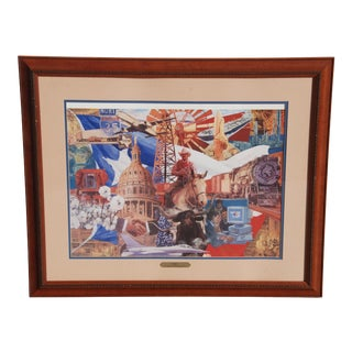 75 Years of Texas Business Signed & Numbered Lithograph by Jim Sharpe For Sale