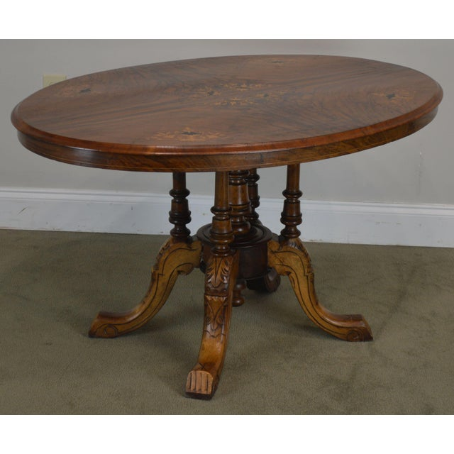 High Quality Burl Walnut Marquetry Inlaid Top Oval Center Table with Carved Base