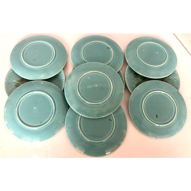 Late 19th Century Antique French Majolica Turquoise Plates by Sarreguemines - Set of 10 For Sale - Image 10 of 11