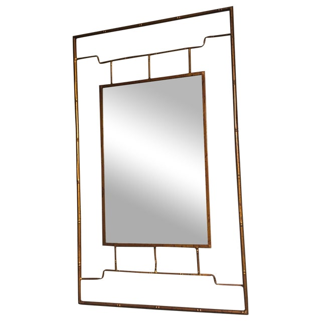 Bronze Metal Bamboo Framed Chinoiserie Mirror - Image 1 of 4