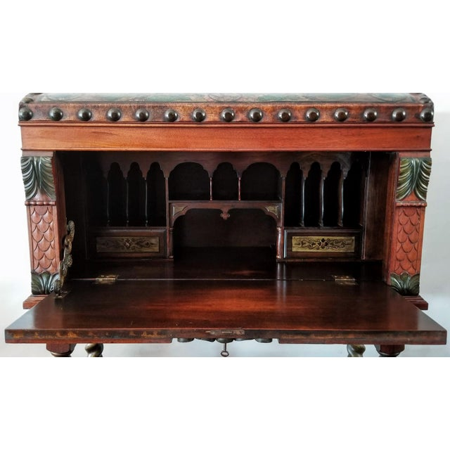 1920s Spanish Colonial Revival Painted Leather and Wood Drop-Front Desk on Stand and Chair For Sale - Image 5 of 13