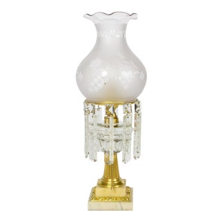 Mid 19th Century Glass and Marble Astral Lamp With Colonial Crystals For Sale