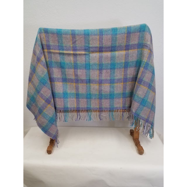English Wool Throw Blue and Purple Stripes on a Gray Background - Made in England For Sale - Image 3 of 11