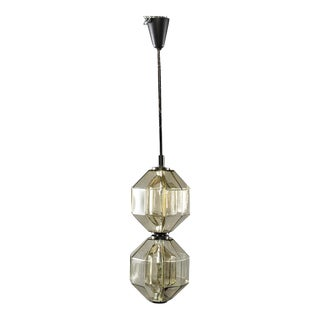 Vistosi Double Vessel Amber Glass Lantern or Pendant Fixture For Sale