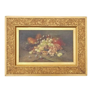 Late 19th Century Antique George William Whitaker Still Life of Fruit and Nuts Oil on Canvas Painting For Sale