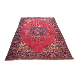 1960s Vintage Turkish Oushak Hand-Knotted Rug - 5′10″ × 8′6″ For Sale