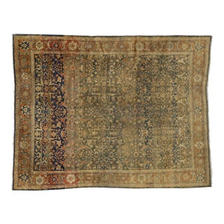 Antique Persian Mahal Rug With Rustic English Traditional Style - 08'10 X 11'03 For Sale