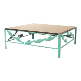 1950s Mid-Century Modern Marble and Bronze Coffee Table For Sale