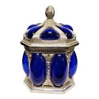 Indian Cobalt and Polished Metal Lidded Storage Jar For Sale