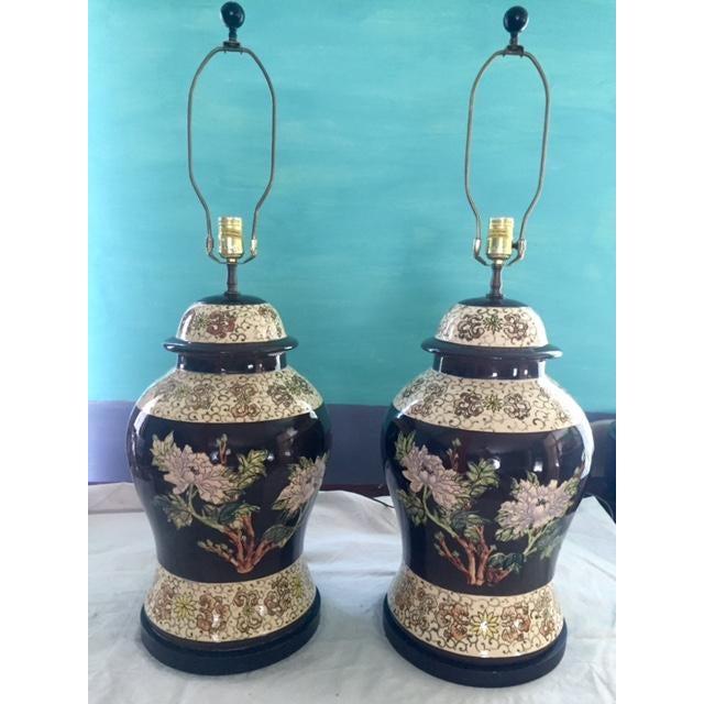 Vintage Ginger Jar Lamps - A Pair - Image 9 of 9