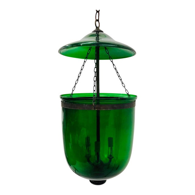 Traditional Green Glass Bell Jar Pendant For Sale