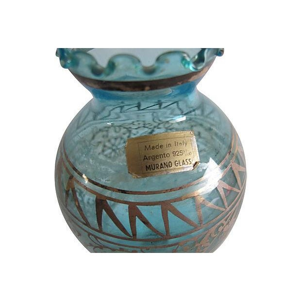 Teal Murano Glass & Gilded Sterling Vase - Image 3 of 4