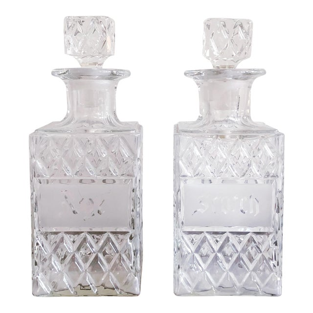 Vintage Crystal Scotch and Rye Decanters For Sale