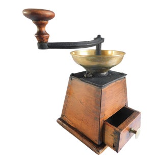 Vintage Wooden Molanova Coffee Grinder For Sale
