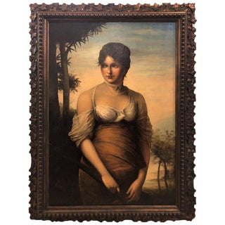 19th Century Oil on Canvas, a Portrait Beautiful Maiden, Signed A. Zienert For Sale
