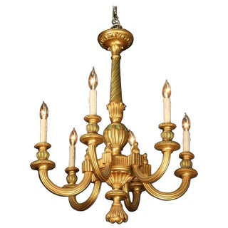 19th Century Italian Carved Gilt Wood Six Light Chandelier For Sale