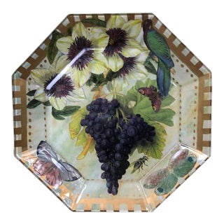 Flora and Fauna Decoupage Glass Plate For Sale