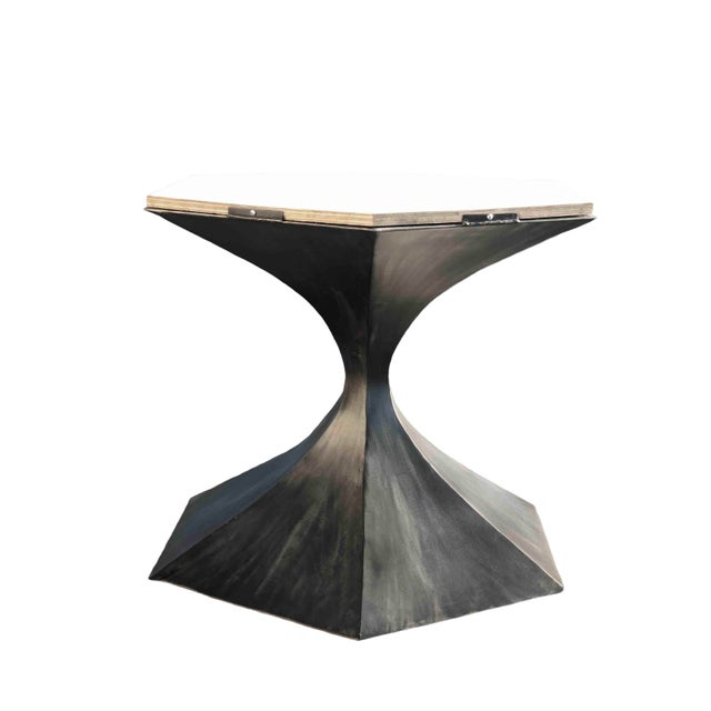 Invictus Steelworks Hourglass Tulip Table Base Comes With Wood Subbase Handmade by Invictus Steelworks For Sale - Image 4 of 4