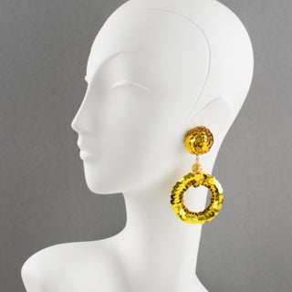 Oversized Gold Sequin Disco Donut Dangling Chandelier Clip on Earrings Preview