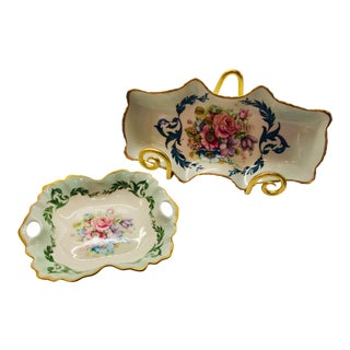 Vintage Limoges France, Hand Painted Plates - A Pair For Sale