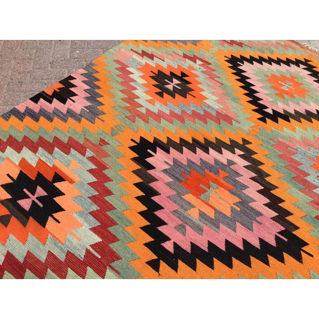 Vintage Diamond Design Kilim Rug For Sale In Raleigh - Image 6 of 11