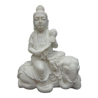 Large Chinese Intricately Carved White Marble Guan Yin, Kwan Yin Statue For Sale
