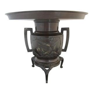 Japanese Bronze Ikebana Vase With High Relief Koi Fish & Bird Design For Sale