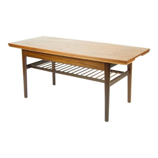 1960s Vintage Danish Modern Teak Elevator Coffee Table For Sale