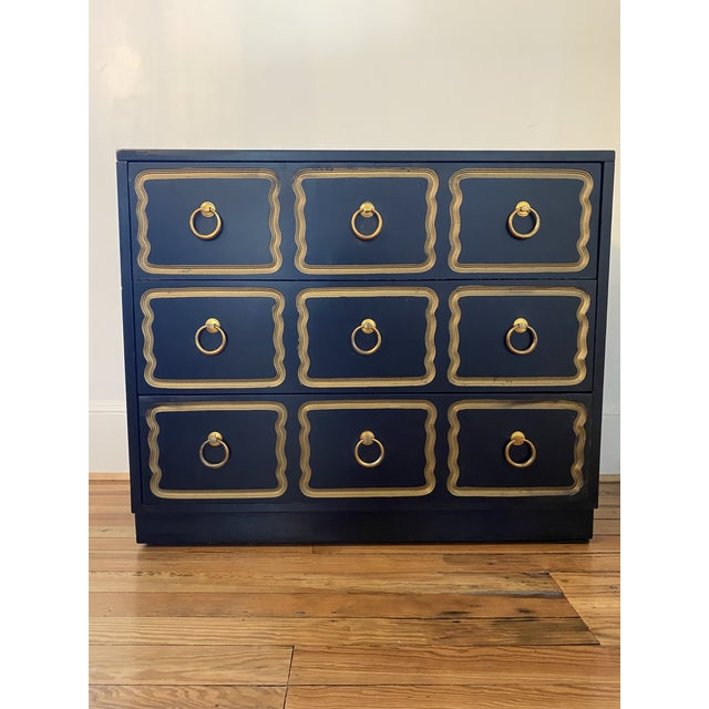 A classic Dorothy Draper bunching chest in black with gold trim. This iconic piece is a show stopper with its undulating...