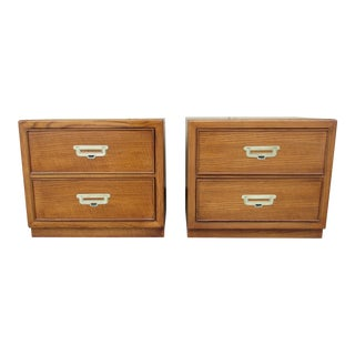 20th Century Campaign Bernhardt Nightstands - a Pair For Sale