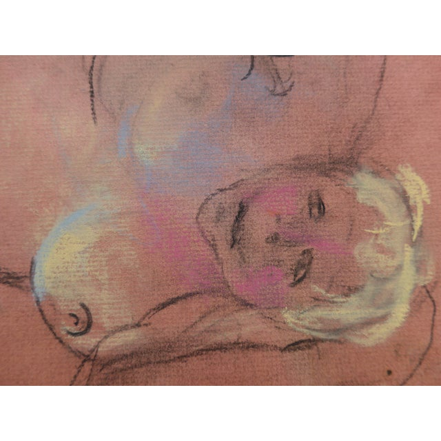 2010s Pastel & Charcoal Drawing of a Woman For Sale - Image 5 of 7
