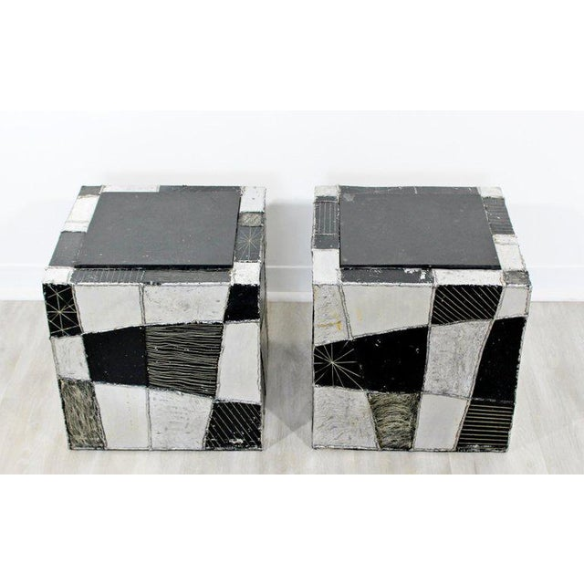 For your consideration is a stunning pair of Argente chrome cube side or end tables, with slate tops, by Paul Evans, circa...