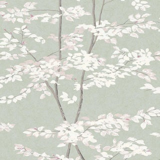 "Lewis & Wood Beech Jade Extra Wide 52"" Botanic Style Wallpaper Sample For Sale"