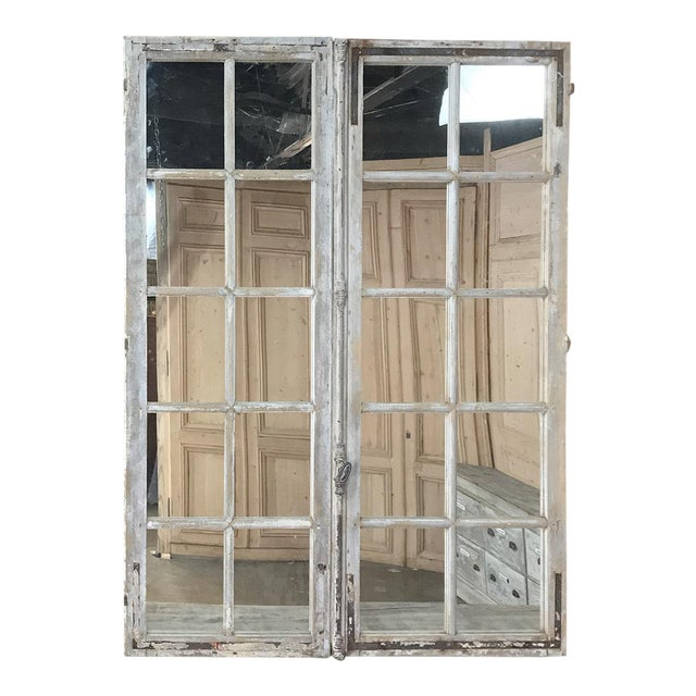 Pair 19th Century Mirrored Window Frames For Sale